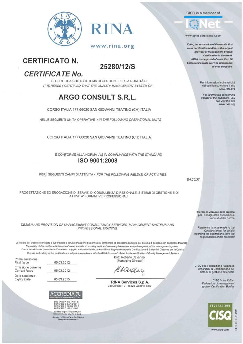 certificato rina 2012